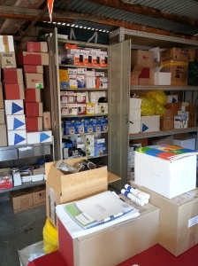 Shelves of diabetes supplies ready to go.