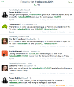 Search of #ADSADEA2014 on Twitter after our #OzDOC tweetchat